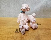 Vintage NAPCO Pink Spaghetti Poodles 1 Dog and 2 Pups with Chain