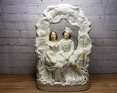 Large 19th c Staffordshire Couple Sitting Under Arbor 14.5