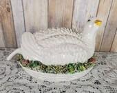 Antique Italian Porcelain Partridge Bird Capodimonte Figure Hen On Nest