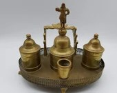 Lisboa Portugal Brass Double Inkwell with Bell Eagle