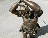 Antique French Bronze Spelter Metal Sculpture Of A Warrior Signed Detrier