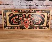 Clarence Wells Gitxsan Clan Haida Wooden Storage Box Sliding Lid