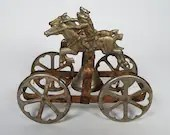 1890 Cast Iron Steel Watrous Mfg Co Bell Pull Toy Rough Riders Duo