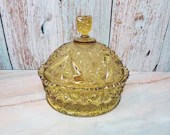 1886 Beatty EAPG Amber Daisy Button V Ornament Covered Butter