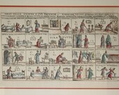 Giuseppe Maria Mitelli 1634-1718 Game of Wives and Their Chores Etching Handcolored