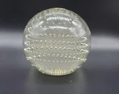 Vintage Precision Controlled Bubbles Clear Glass Paperweight
