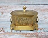 Beautiful Celtic Knot Engraved Etched Brass Tea Caddy Trinket Box