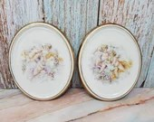 Pair Depos T Limoges Italy Porcelain Oval Wall Hanging Plaques Cherubs Putti