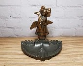 Nouveau Ashtray Copper Finish Girl Holding Duck Goose
