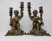Amazing Pair Bronze 2 Arm Candle Holders Cherubs Putti 12.75 Inches