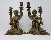 Amazing Pair Bronze 2 Arm Candle Holders Cherubs Putti 12.75 Inches