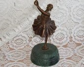 Bronze Ballerina Dancer Green Marble Base,Art Deco,Vintage,Sculpture