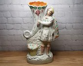 Large 19th c Staffordshire Highlander Figure with Cornucopia Spill Vase 13.5