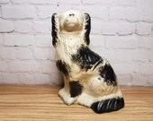 Ray Lear Hollow Redware Pottery Spaniel Hand Painted Folk Art