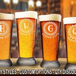 Hypnotic Unique 16oz Pilsner Beer Glass One Monogram W Free Etsy