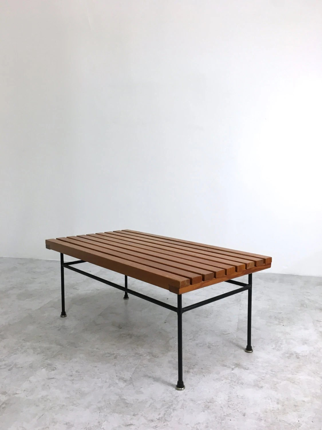 Vintage Mid Century Modern Wood Slat Iron Bench Coffee Or