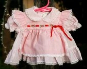 Baby Girl Red and White Polka Dot, Pinstripes, and Lace Dress with Diaper Cover (up to 3 MOS dress)