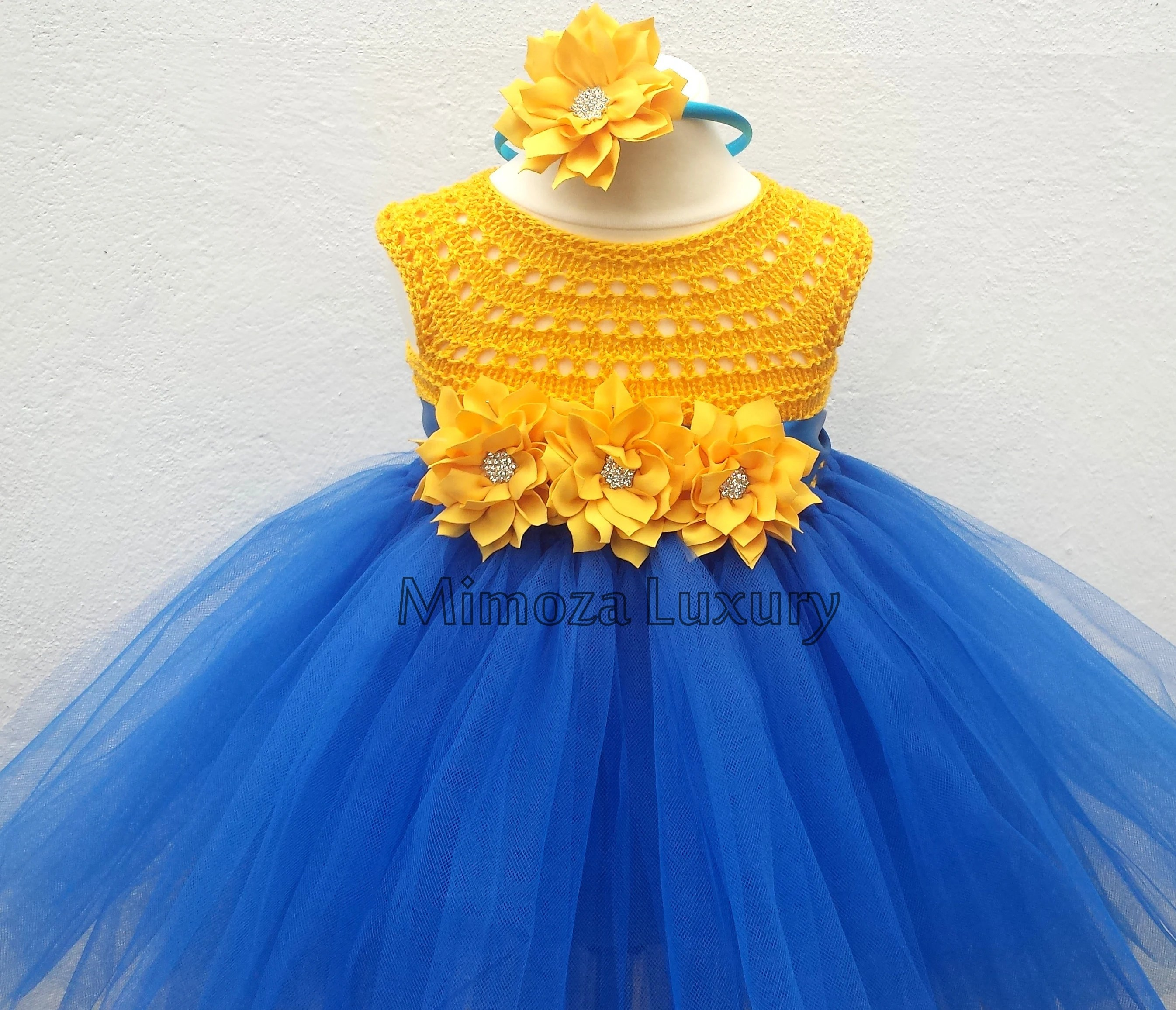 Clothing Dresses 1st Birthday Dress Crochet Top Tulle Dress Birthday Dress Outfit Yellow Blue Tutu Dress Yellow Blue Birthday Blue Yellow Tutu Dress