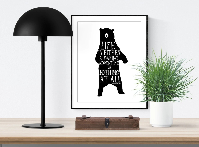 Bear Decor Black And White Printable Art Helen Keller