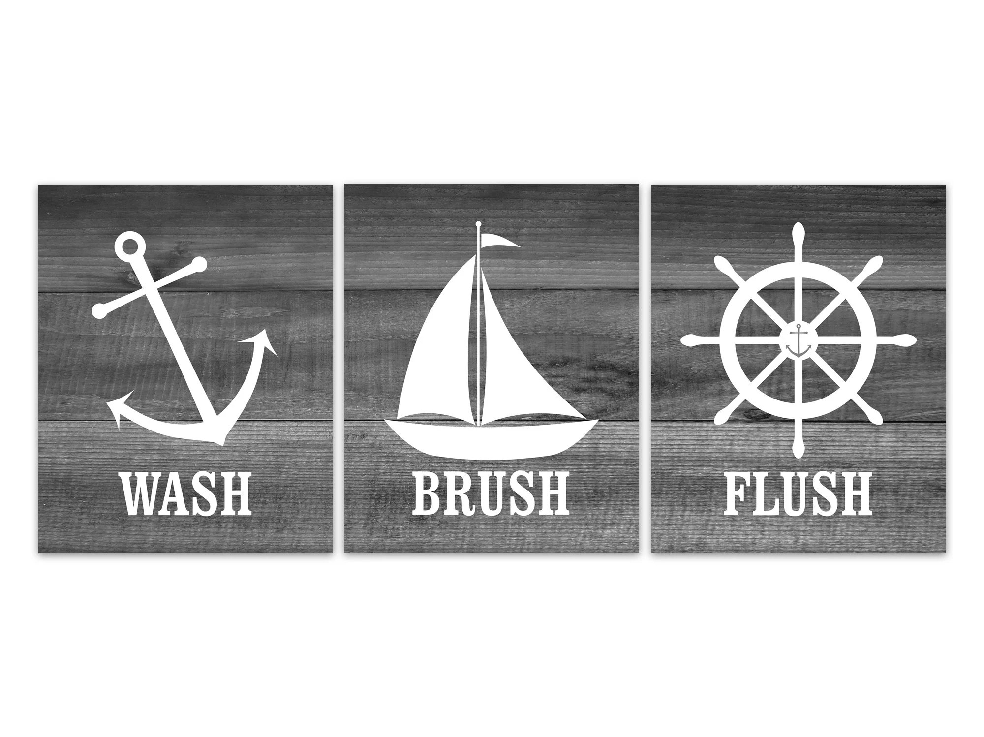 Nautical Bathroom Rules Pictures Wash Brush Flush Canvas Or