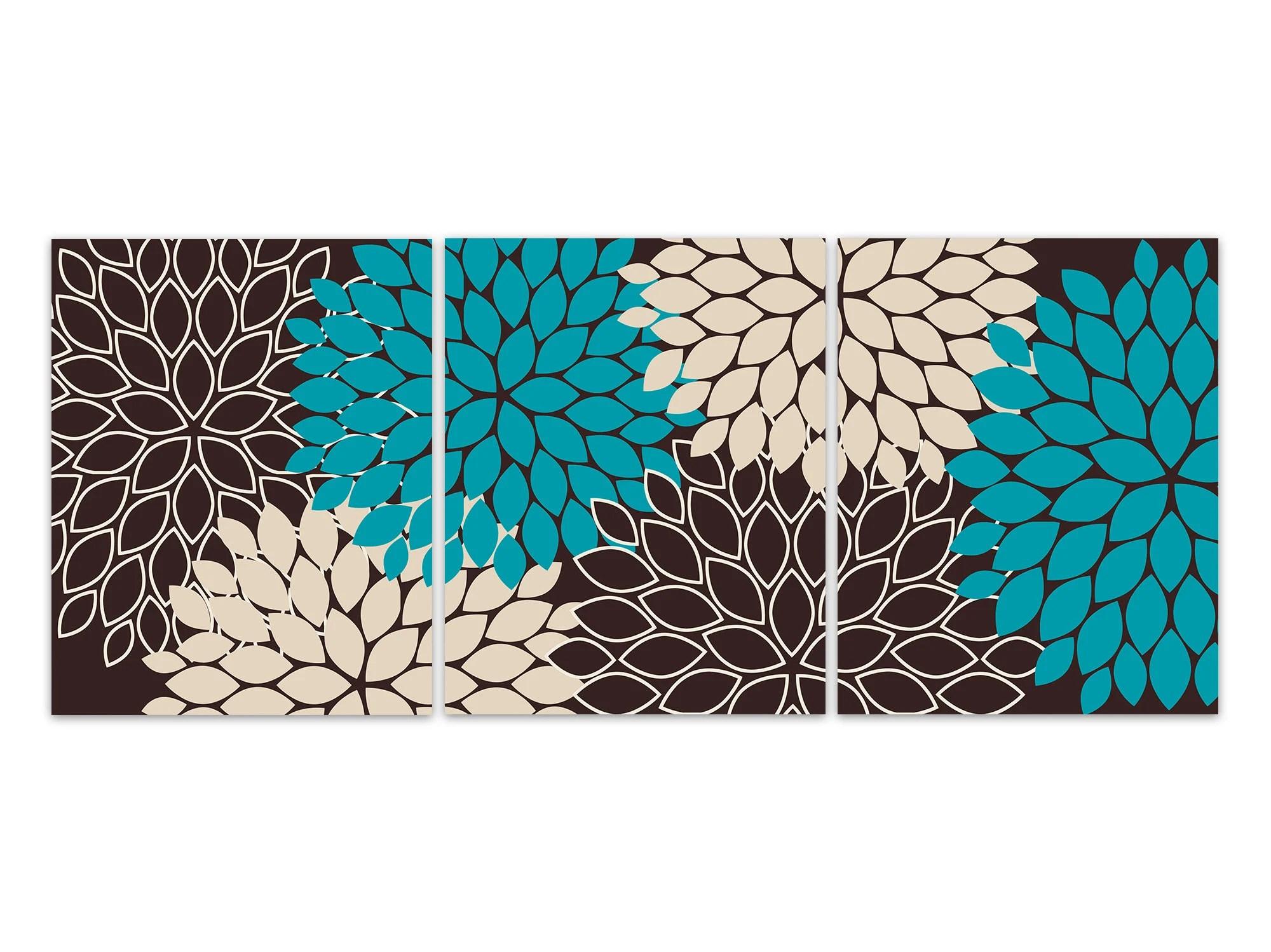 Home Decor Wall Art Prints Or Canvas Teal Brown Tan Flower
