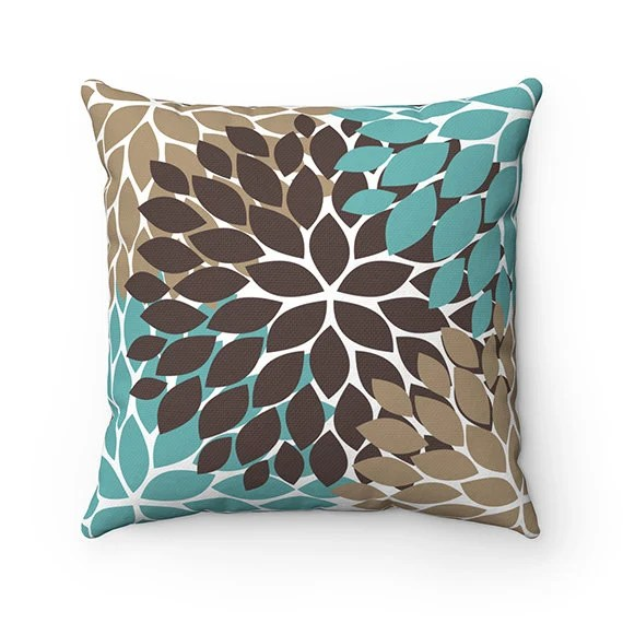teal brown throw pillow cover teal floral accent pillow couch cushion brown home decor flower pillow cover floral toss pillow pil75