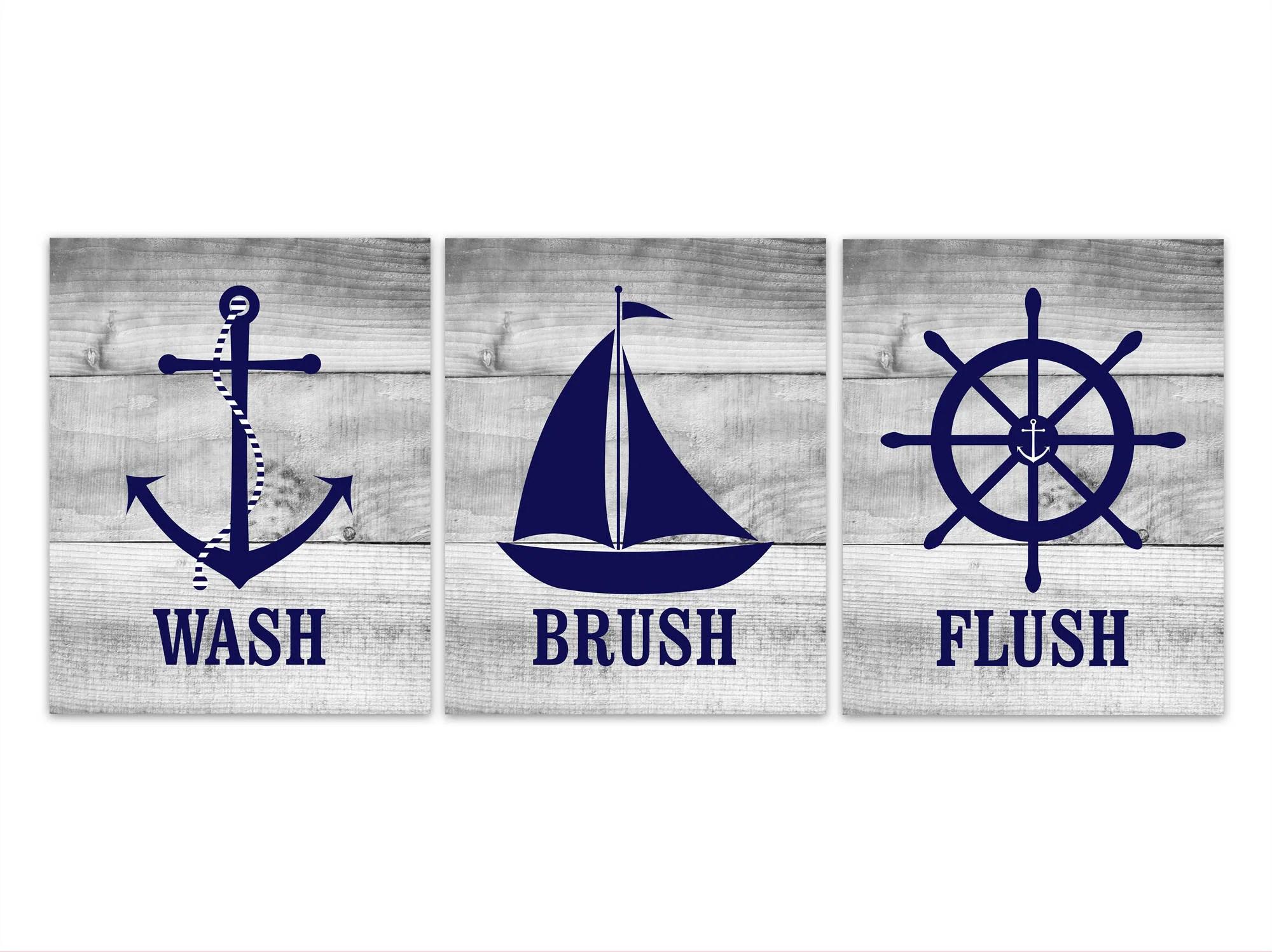 Nautical Bathroom Rules Wall Art Wash Brush Flush Canvas Or