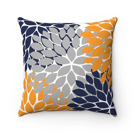 navy blue and orange throw pillows online
