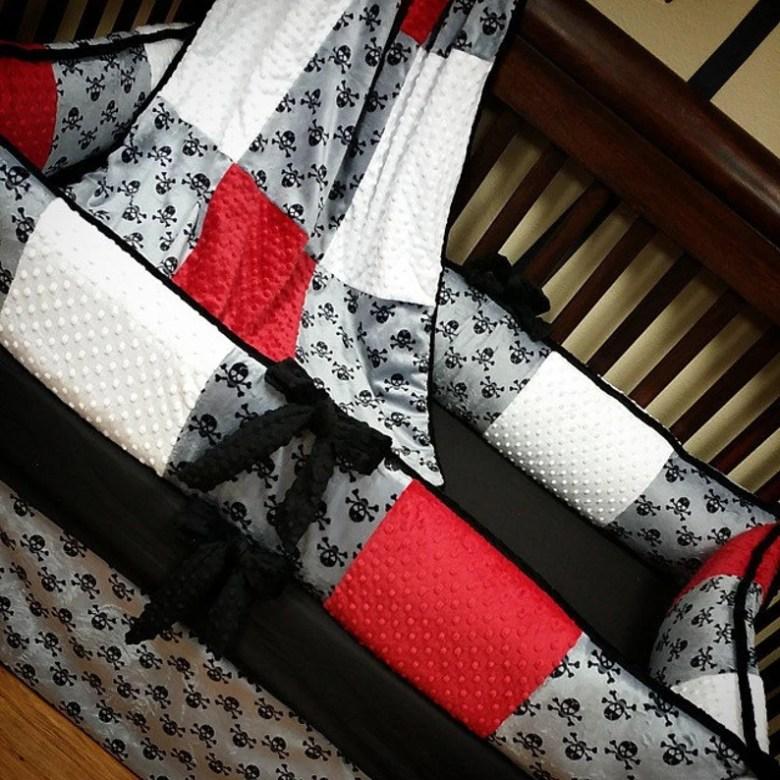 Grey Skull Crib Set. Pirate Crib Set. You design by GraceMadisonDesigns