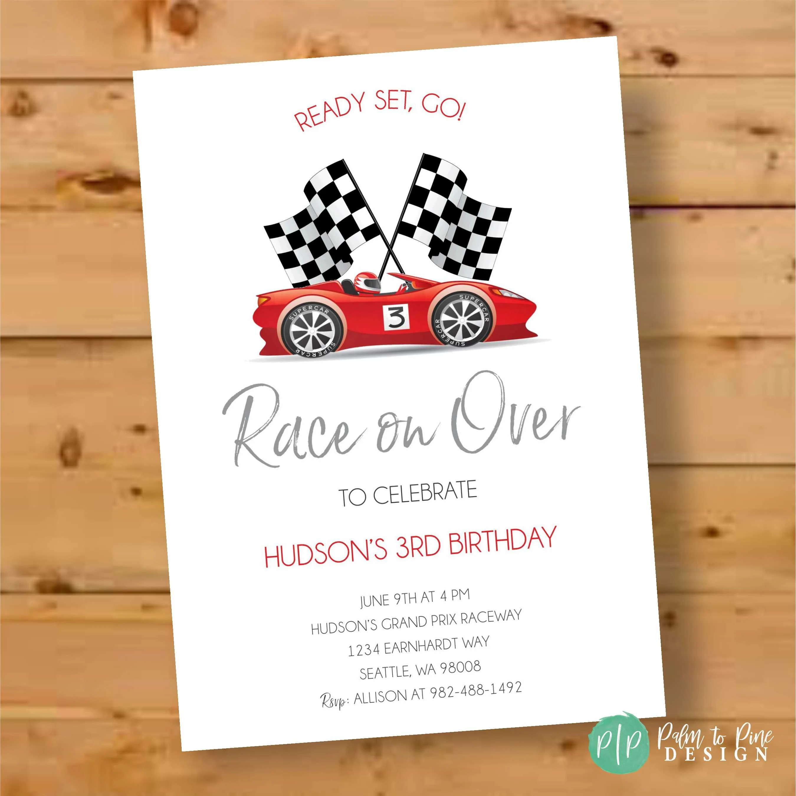 race car invitation race car birthday