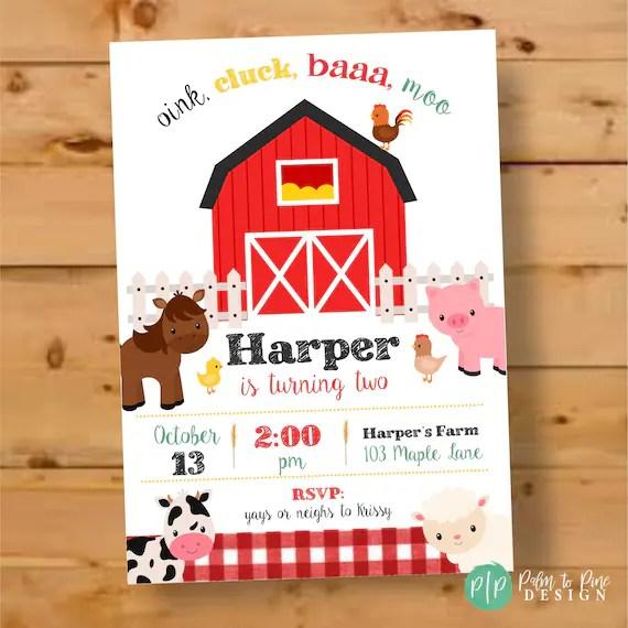 farm birthday invitation barnyard