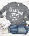 Bella Canvas 3501 Grey Triblend Unisex T Shirt Mock Up Grey Etsy