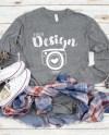 Bella Canvas 3501 Grey Triblend Unisex T Shirt Mock Up Long Etsy