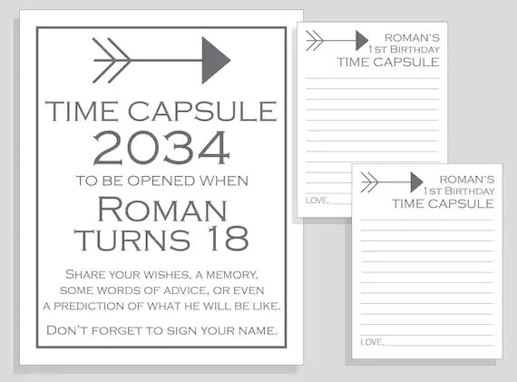First Birthday Time Capsule Arrow Printable Sign And Cards Diy Etsy