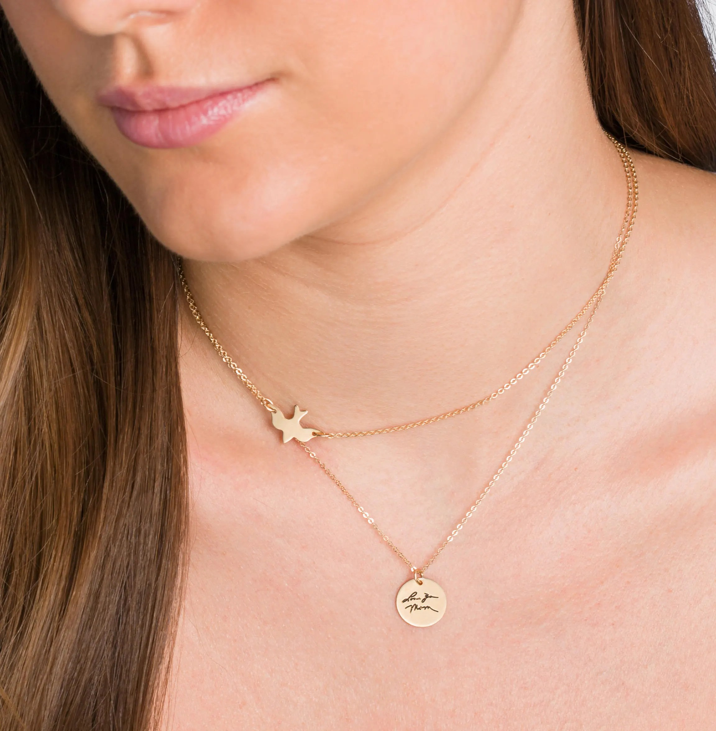 Personalized Disc Handwritten Necklace  YOUR HANDWRITING  image 2