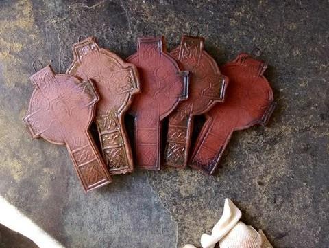 Celtic cross - rustic - cross - baptism gift - christening gift - naming gift - pottery cross - Scottish - Irish - traditional - terracotta