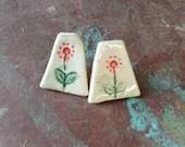 Ceramic earrings - handmade jewellery - colourful - stud earrings - handmade earrings - flowers