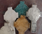 Celtic cross - rustic - cross - baptism gift - christening gift - naming gift - pottery cross - Scottish - Irish - traditional - Christian
