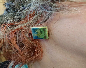Ceramic earrings - rectan...