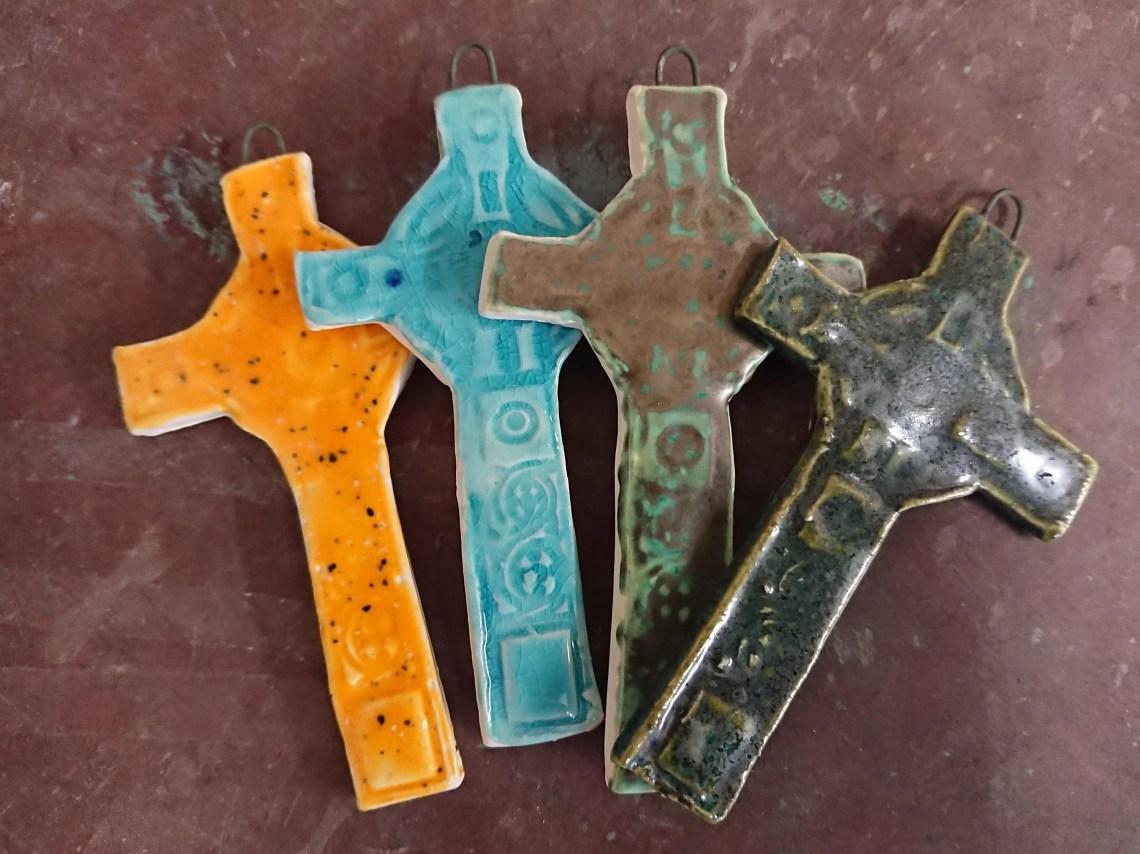 Ceramic Celtic cross - rustic - cross - baptism gift - christening gift - naming gift - pottery cross - Scottish - Irish - Traditional