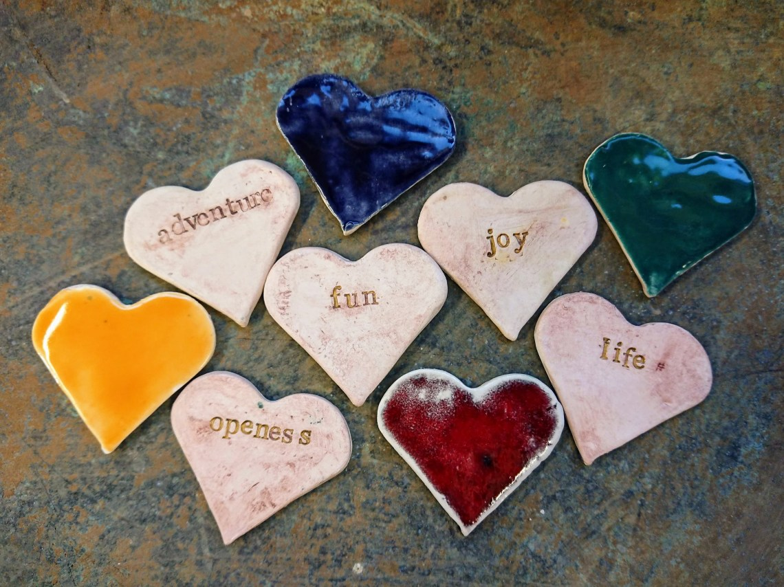 Personalised words to see you through the week - ceramic hearts - mothers day - Valentines - birthday - get well soon - made in Argyll