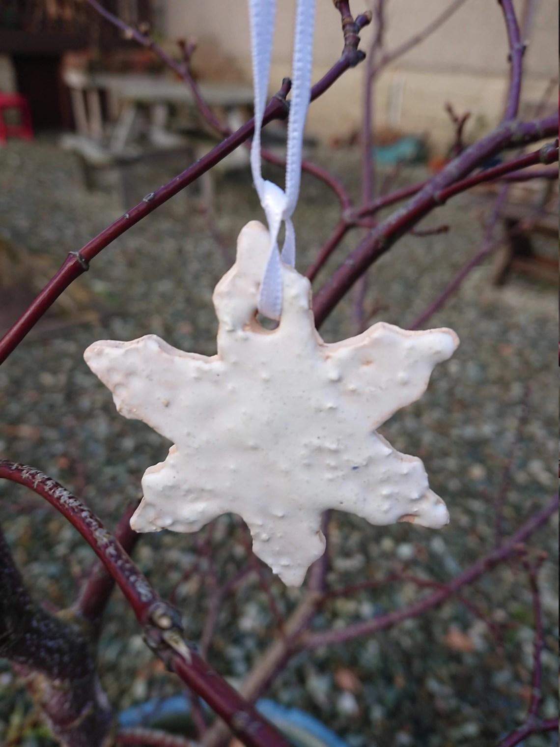 Bobbly ceramic snowflake- pottery decorations - Christmas decorations- holiday - Christmas - tree decorations - snowflakes