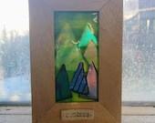 Framed handmade fused gla...