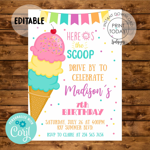 drive by ice cream birthday invitation
