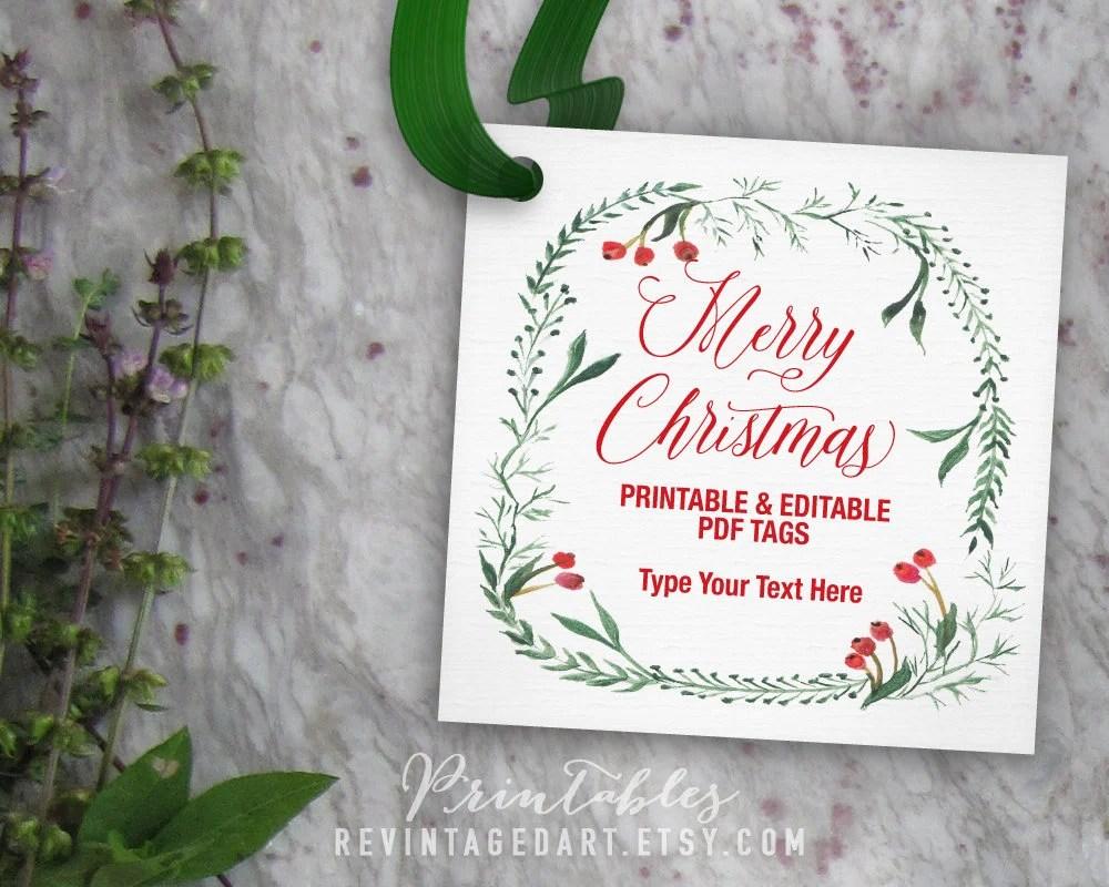 Merry Christmas Tags Editable Christmas Gift Tag Template