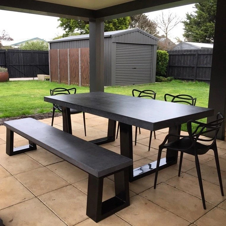 polished concrete dining table and bench seat patio alfresco etsy