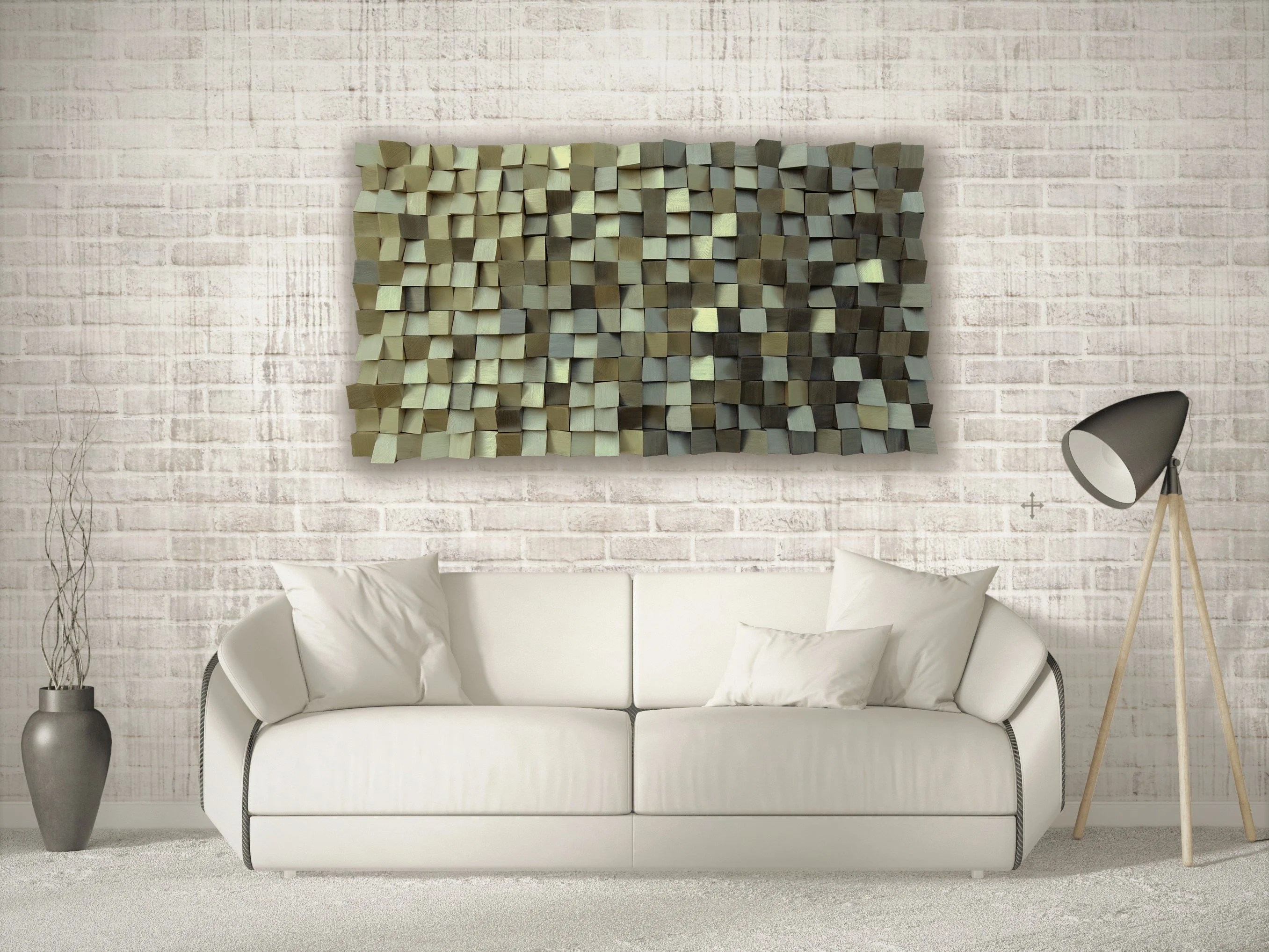3D Wood Wall Art Gold And Silver, Mosaic Wood Wall Art