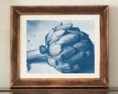 Cyanotype analog photo print, A4, Globe artichoke, botanic print