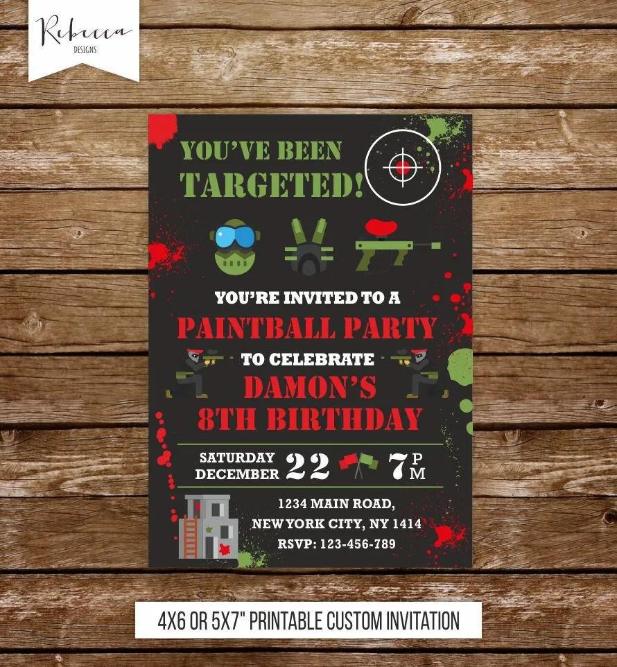 paintball birthday invitation paintball