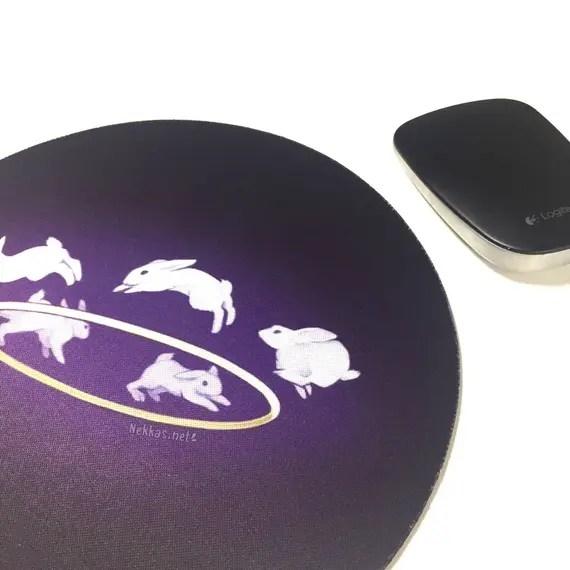 Bunny Halo • Round Mousepad